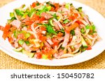 fresh salad with meat and... | Shutterstock . vector #150450782