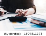 close up businesswoman using... | Shutterstock . vector #1504511375