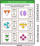 Math puzzle, worksheet or task cards for school children and adults. Circle the correct answer. Find the number equivalent for each pictorial, or visual, fraction representation. Answer included.