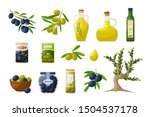 set of olive oil in glass... | Shutterstock .eps vector #1504537178
