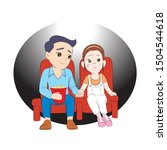 cute young love colple seeing...   Shutterstock .eps vector #1504544618