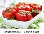 red peppers stuffed with meat... | Shutterstock . vector #150455105