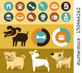 Vector set of infographics design elements - dogs and pets in flat style - stock vector
