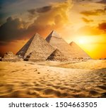 Egyptian Pyramids In The Deser...