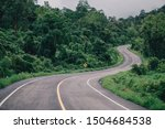 The crooked road background image has no green trees on either side.