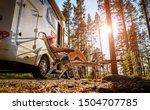 Family vacation travel RV, holiday trip in motorhome, Caravan car Vacation. - stock photo