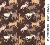 Stock vector seamless wallpaper pattern the running beautiful horses on a brown checkered background textile 1504750238