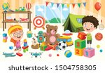 happy children playing with toys | Shutterstock .eps vector #1504758305