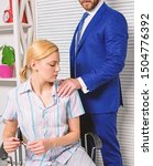 Small photo of Prejudice office. Office woman and her lustful boss. Girl indecent behavior