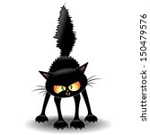 Stock vector funny fierce black cat cartoon 150479576