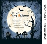 spooky card for halloween. blue ... | Shutterstock .eps vector #150489926