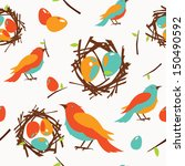Birds With Nest Seamless Pattern
