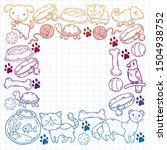 Stock vector hand drawn doodle pets stuff and supply icons set vector illustration vet symbol collection 1504938752