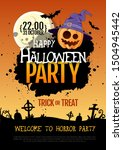 halloween disco party poster... | Shutterstock .eps vector #1504945442