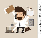 businessman with multi tasking... | Shutterstock .eps vector #150498062