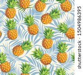 pineapples on a background of... | Shutterstock .eps vector #1504986395