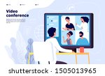video conference landing.... | Shutterstock .eps vector #1505013965