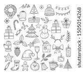christmas doodle set. sketch... | Shutterstock .eps vector #1505014268