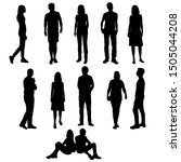vector silhouettes of  men and... | Shutterstock .eps vector #1505044208
