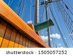 Close-up of a brass tall ship