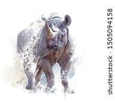 Black Rhinoceros Watercolor...