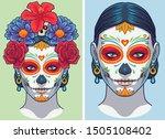 dia de los muertos lady makeup... | Shutterstock .eps vector #1505108402