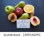 Small photo of Structural chemical formula of fructose with fresh, low-fructose and high-fructose fruits. Fructose (fruit sugar), is a simple ketonic monosaccharide found in many plants. Apple, orange, kiwi, pear...
