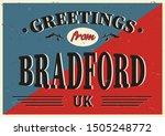 uk city greetings from bradford ... | Shutterstock .eps vector #1505248772