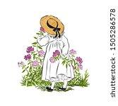 Little Girl In Straw Hat Sniffs ...