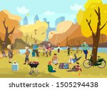 autumn park scene with lots of... | Shutterstock .eps vector #1505294438