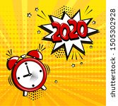 alarm clock with white comic... | Shutterstock .eps vector #1505302928