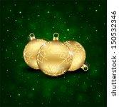 Three Golden Christmas Balls O...