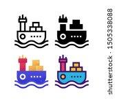 cargo ship logo icon design in...