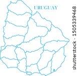 uruguay blue line map vector | Shutterstock .eps vector #1505339468