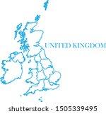 united kingdom blue line map... | Shutterstock .eps vector #1505339495
