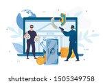 digital crimes. cyber hacking.... | Shutterstock .eps vector #1505349758