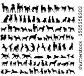 Stock vector vector on a white background black silhouette of a standing dog set 1505358302