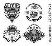 set of vector aliens and ufo... | Shutterstock .eps vector #1505374628