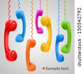 hanging colored handsets  phone ... | Shutterstock .eps vector #150542792