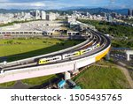 Aerial View Of A Metro Train Of ...