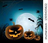 happy halloween greeting card... | Shutterstock .eps vector #1505435822