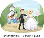 wedding couple out of the... | Shutterstock .eps vector #1505441165
