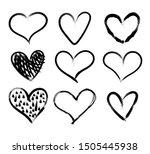 doodle hand drawn hearts set ... | Shutterstock . vector #1505445938