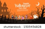 happy halloween. children in... | Shutterstock .eps vector #1505456828