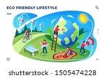 isometric smartphone screen... | Shutterstock .eps vector #1505474228