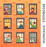 people in windows frames.... | Shutterstock .eps vector #1505482268