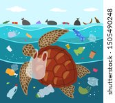 ecological disaster of plastic... | Shutterstock .eps vector #1505490248