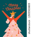 christmas card or poster with... | Shutterstock .eps vector #1505503805