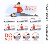 fainting first aid. what to do... | Shutterstock .eps vector #1505505938