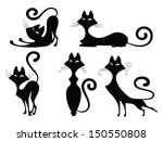 Stock vector set of various black cat silhouettes sitting cat lying cat two stretching cats and one cat with 150550808